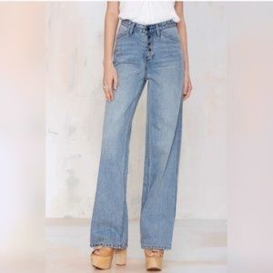 Nasty Gal Wide Leg Exposed Button Jeans 24